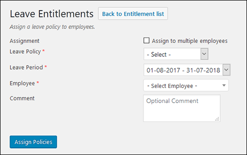 Leave Set Up Screen Shot 03 - Entitlements Pop Up