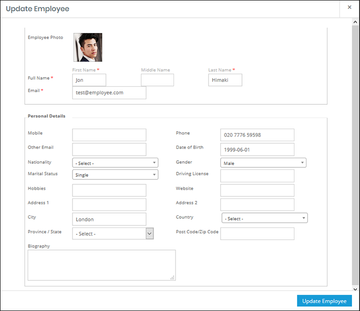 WP-HR Manager Employee Update Profile