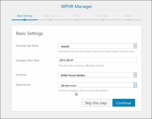 Free HR Software, WP-HR Manager set up wizard