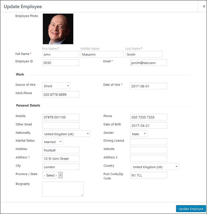 Employee Screen Shot 04 - New Employe Edit Pop Up