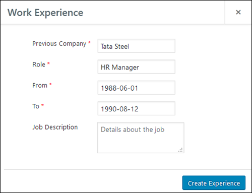 Employee Screen Shot 05 - New Employe Edit Work Experience