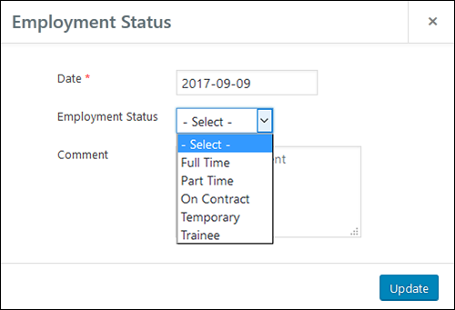 Employee Screen Shot 06 - New Employe Edit Job Tab Status