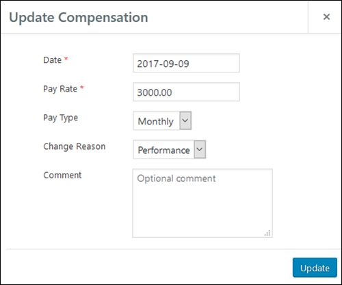 Employee Screen Shot 06 - New Employe Edit Job Tab Compensation