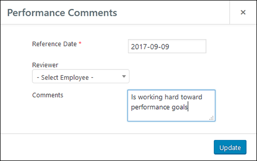 Employee Screen Shot 06 - New Employe Edit Performance Tab Comments Pop Up